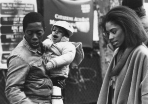 "Charles Lane, his daughter Nicole Alysia, and Sandye Wilson on the set of ""Sidewalk Stories,"" 1989"