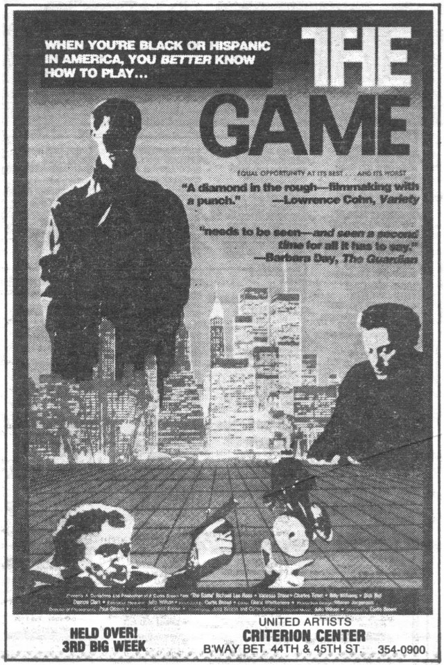 "New York Times ad for ""The Game,"" Spring 1990"